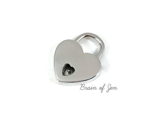 STERLING SILVER Heart Padlock with Keys Working Lock for Submissive Collars