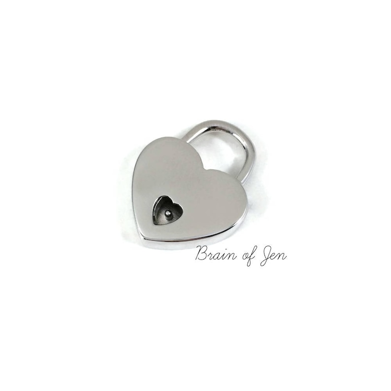 STERLING SILVER Heart Padlock with Keys Working Lock for image 0