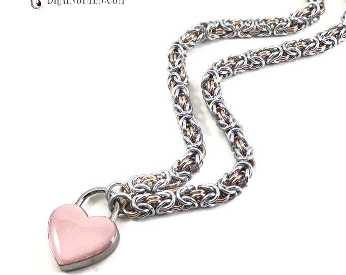 BDSM Slave Collar Rose Gold and Silver Small Rose Gold Heart Padlock Necklace