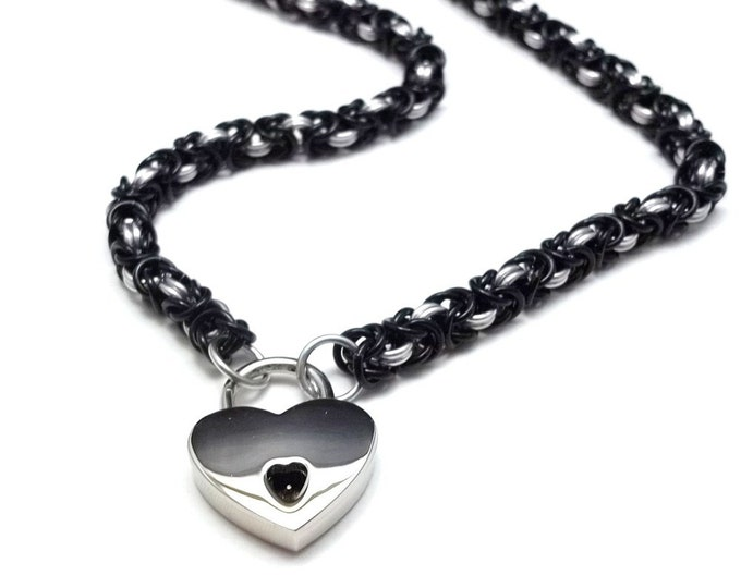 Slave Collar Black and Silver Chainmail Submissive Collar with Heart Lock