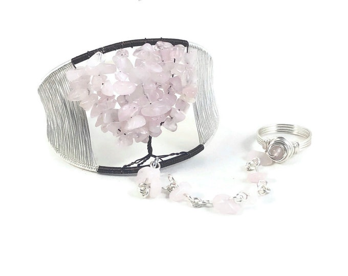 Cherry Blossom Tree of Life Cuff Bracelet with Ring Attached