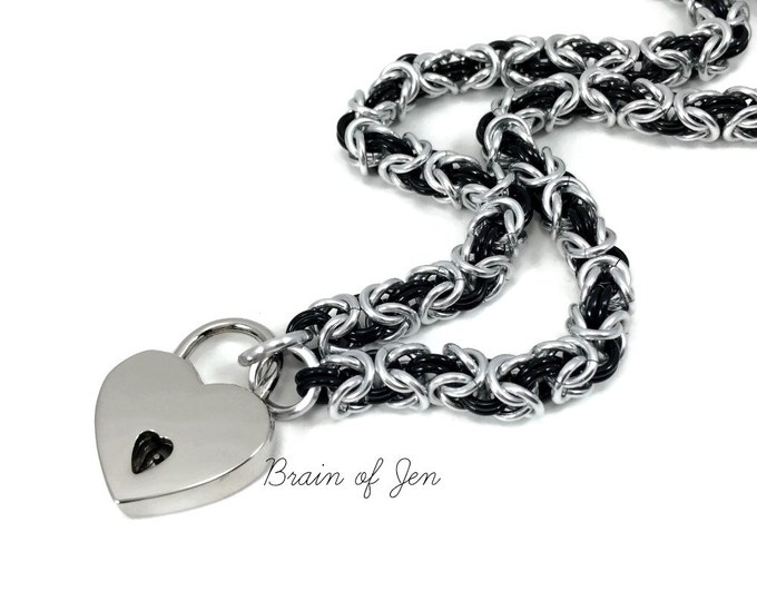 BDSM Slave Collar Silver and Black Submissive Day Collar with Heart Lock