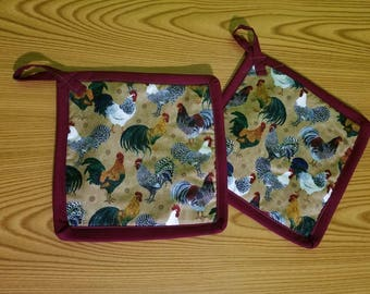Roosters Set of 2 Potholders