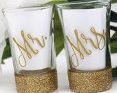 Bridal Shower Gift - Sweeheart Table Decor - Glitter Shot Glasses - Wedding Shot Glass - Glitter Dipped - Mr. and Mrs. - Honeymoon Gift