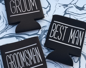 Bachelor Party Favors - Groomsman Gift - Party Decor - Best Man Gift - Party Favors - Bachelor - Wedding Shower - Can Cooler