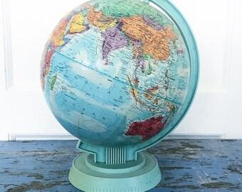 Vintage Globe Replogle World Scholar Embossed Aqua Blue Plastic Base Dent