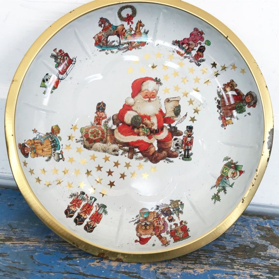 Vintage Santa Tin Bowl Round West Germany Christmas Serving Tray