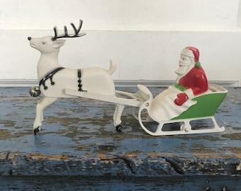 Vintage Christmas Santa Sleigh Reindeer Deer Toy Hard Plastic Candy Container