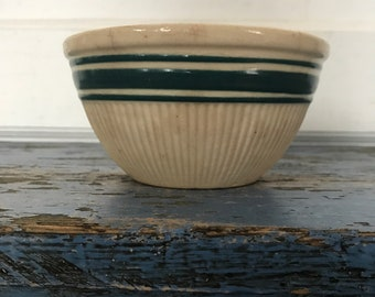 Vintage Stoneware Bowl, Blue Green Stripe Ribbed, Antique Yellowware Yellow Ware Bowl, Farmhouse Kitchen Bowl, Small Hull Mixing Bowl