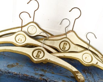 Vintage Wood Hanger, Nevco Florentine Hanger, Monogram Hanger, Hollywood Regency, Gold Edge Hanger, Wedding Photo Prop, Wedding Dress Hanger