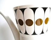Vintage Mid Century Modern Coffee Pot Bone China Hostess Tableware England John Russell Black Velvet Saucers