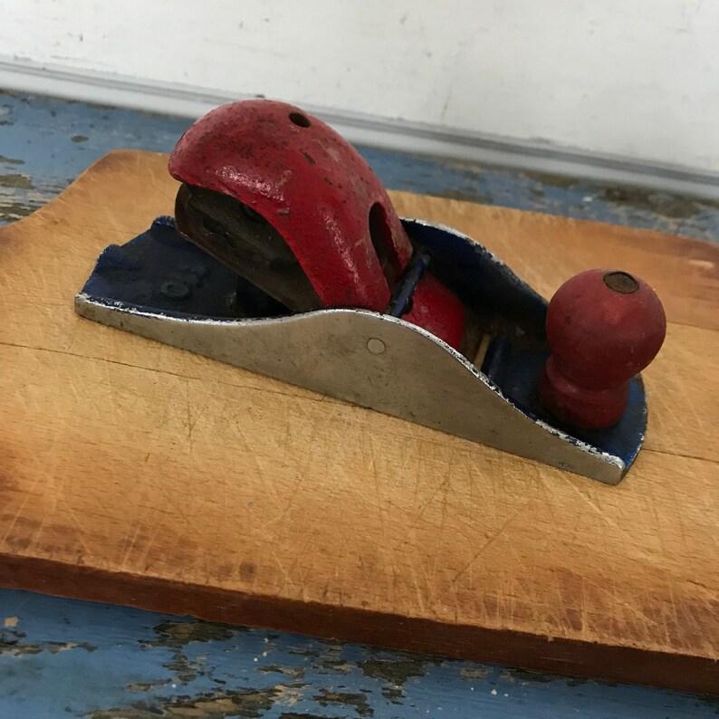 Vintage Red White Blue Metal Wood Planer Industrial Tool Man Cave Patriotic