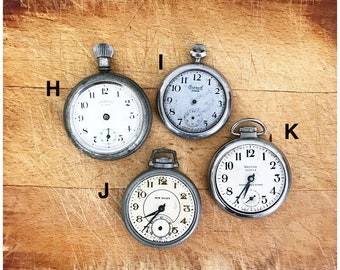 Vintage Pocket Watch Clock Face Backless Case No Glass Non-Working Parts Supply Steampunk Choice of One