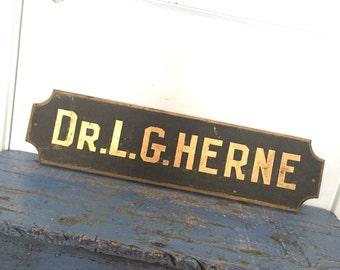 Vintage Wood Doctor Advertising Sign, Herne, Doctor Advertisement, Gold Paint Sign, Wood Sign