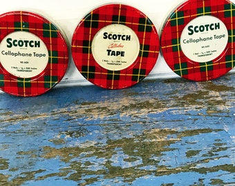 Vintage Scotch Tape Plaid Tin Red Green Empty Choice of One