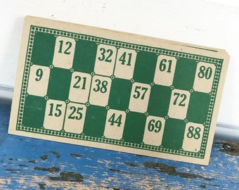 Vintage Green Cardboard Lotto Cards Lot of 4