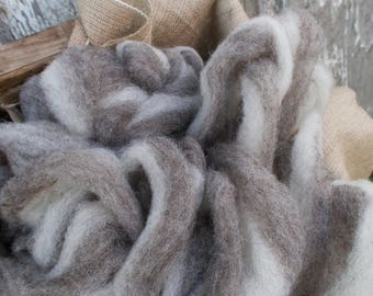 2oz Grey and White Horned Dorset Roving - Molly