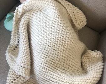 Knit baby blanket, (smaller size), wool and acrylic yarn 25x25