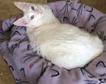 Fleece cat/kitten blanket/ childs fleece blanket, plush fleece purple with outlined cat faces (small/medium) 30x33