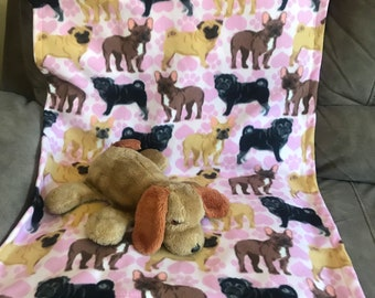 Fleece dog blanket pink with hearts and different colors of pug dogs small/medium) 27x34