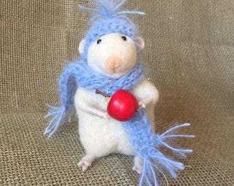 Little wool mouse - Needlefelted - Winter gift - Eco friendly - One of a kind - Blue hat and scarf