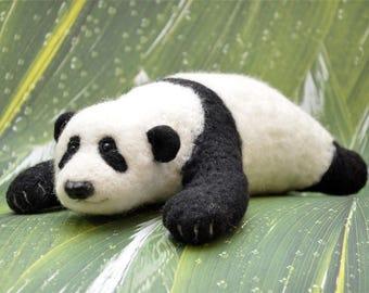 Panda Bear Needlefelted Toy Wool