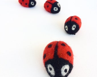 Five Ladybug family felted brooch Summer gift for her