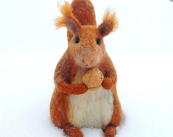 Red Squirrel - Animal with cherry - Winter gift - Needlefelted - One of a kind - Eco friendly