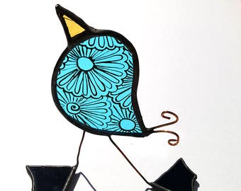 Turquoise Stained Glass Standing Birdy Free UK Postage