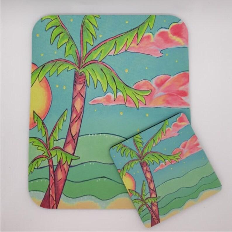 Sunset Palm Coaster and Mousepad