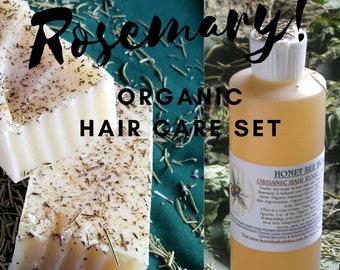 LIMITED EDITION Organic Rosemary Hair Care Set , eco friendly shampoo, scalp clarifying, hair growth , dandruff , rosemary essential oil