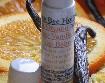 Organic Orange Vanilla Kiss Lip Balm made with Organic Vanilla Bean and Organic Orange Essential Oil in a twist tube