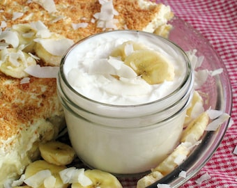 Organic Coconut Banana Creme Pie Lotion -- Generous 8 oz. Jar- A Creamy, buttery, Coconut Delight topped with tropical Banana