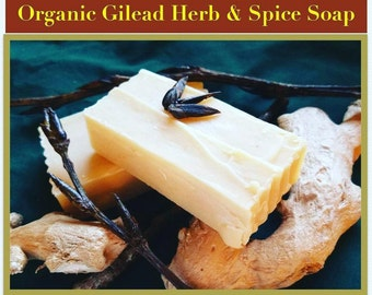Organic Gilead Herb and Spice Soap , Cold processed, Balm of Gilead Cottonwood bud 4oz handcut bar, Super lather, natural shampoo