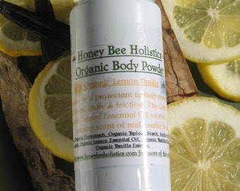 BULK PACKAGE Organic Lemon Vanilla Body Powder - No talc used - 8 oz. - No GMO's used