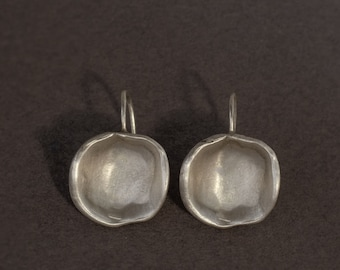 concave silver earrings