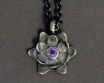 """oxidized silver """"succulent"""" flower pendant with either amethyst, garnet, or peridot"""