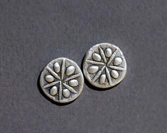 sand dollar silver earrings
