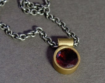 gold and garnet choker in 18K gold on a sterling silver chain