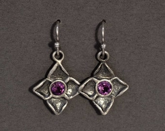 dogwood flower earrings in sterling silver with either amethysts, peridots, or garnets