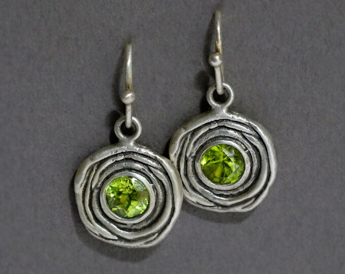 Featured listing image: nested oxidized silver earrings with either garnets, peridots, or amethysts