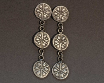 sand dollar earrings in sterling silver, long strand