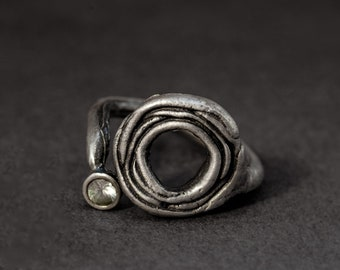 "layered ""flower"" oxidized sterling silver open ring with white sapphire (blue sapphire or ruby options are available)"
