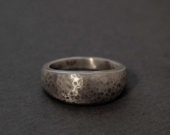 hand hammered sterling silver dome ring