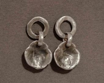 oyster earrings in sterling silver