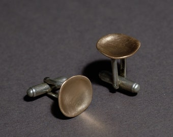 concave shape cufflinks in 14K rose gold and silver