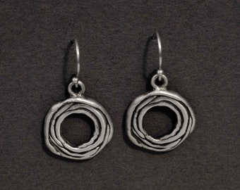 "layered ""flower"" earrings in sterling silver"