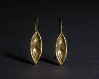 18K rose gold earrings - leaf motif