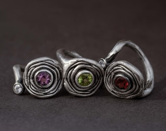 "layered ""flower"" sterling silver open ring with garnet (or amethyst/peridot) and white sapphire"