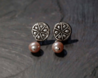 sand dollar earrings with fresh water pearls